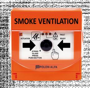 Buton de activare a procedurii de desfumare; include buton de reset; 3 LED-uri indicatoare pentru stările: activat, normal și detecție defect; montaj sub tencuială, la interior